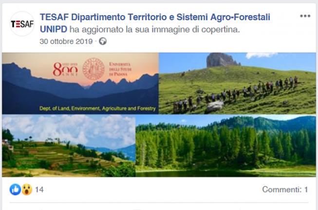 Collegamento a TESAF Dipartimento Territorio e Sistemi Agro-Forestali UNIPD is on Facebook